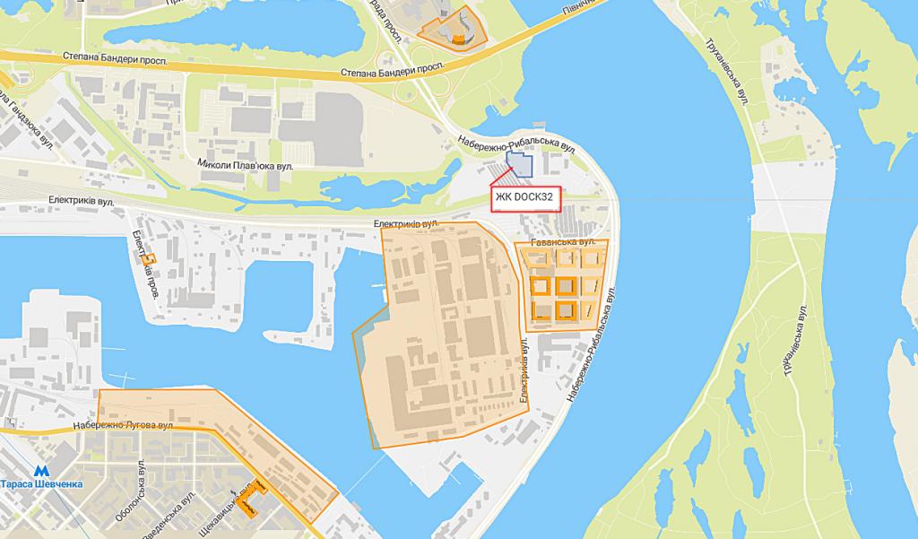 Новые проекты новостроек Киева ЖК Док 32 на карте