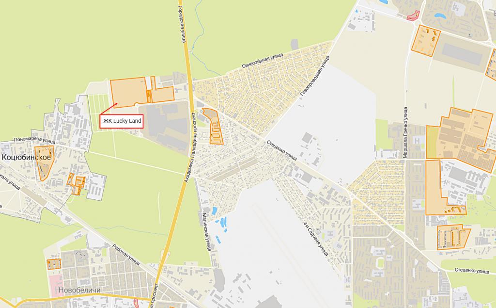 Новые проекты новостроек Киева ЖК Лаки Ленд вместо Лалаленд на карте