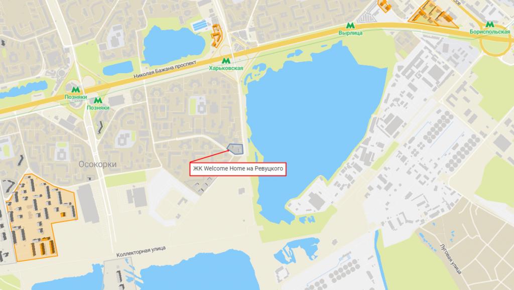 Новостройки с задежкой сроков сдачи ЖК Велкам хоум на Ревуцкого на карте