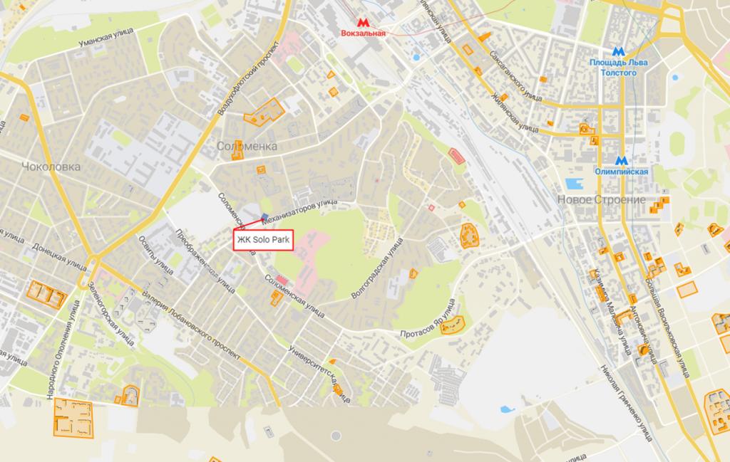 Новостройки с задежкой сроков сдачи ЖК Соло парк на карте