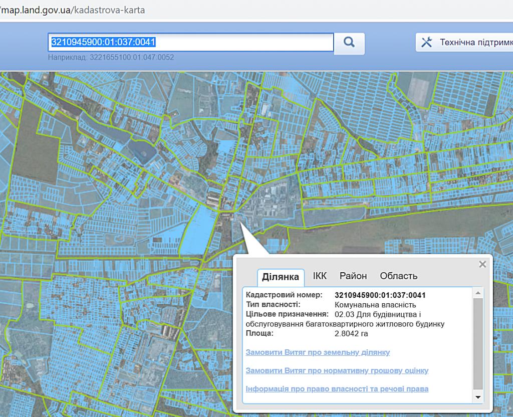 ЖК Рок Сити в Гостомеле данные кадастровой карта