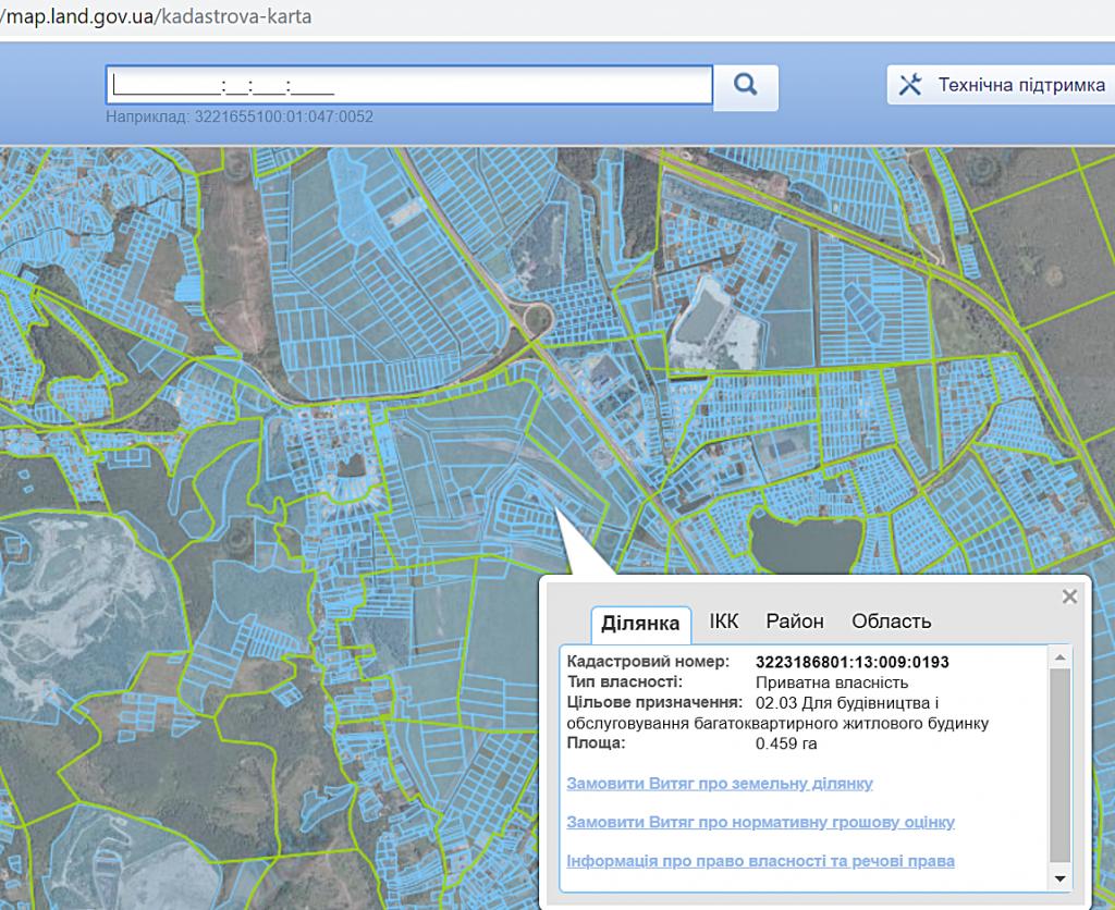 ЖК Парк лейк сити в Подгорцах данные кадастровой карты