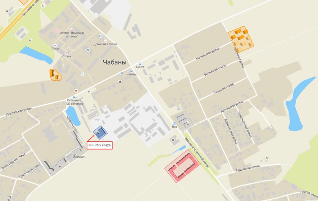 ЖК Парк плаза в Чабанах на карте