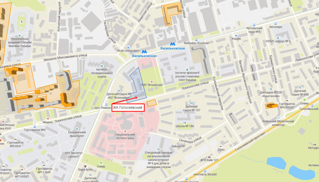 ЖК Голосеевский от Интергал Буд на карте