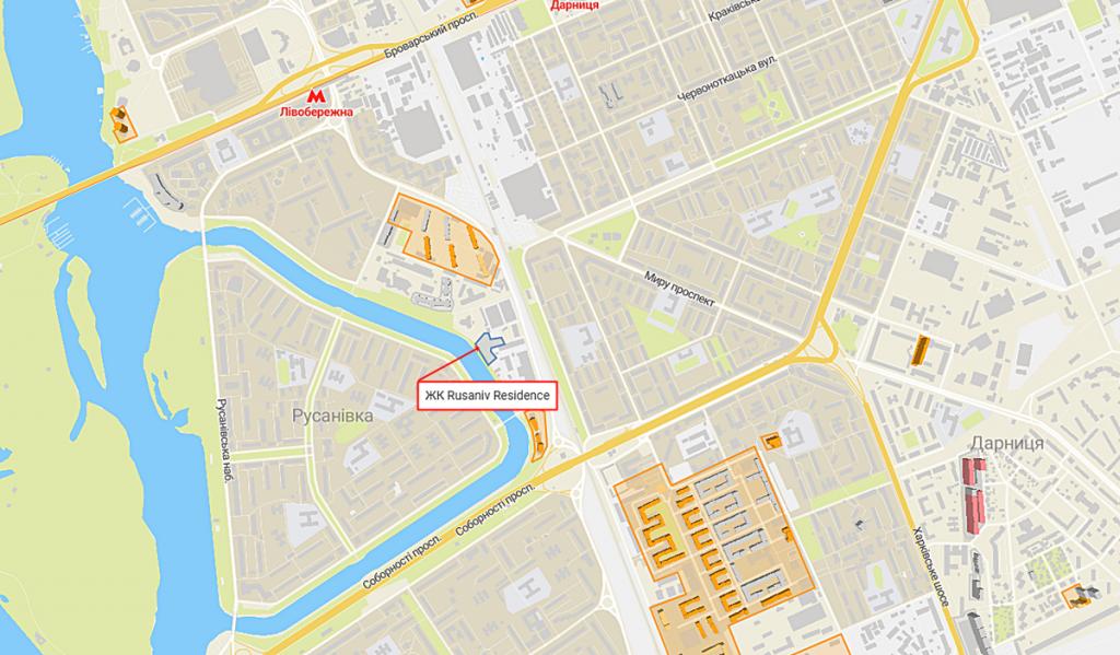 ЖК Русанив Резиденс на карте