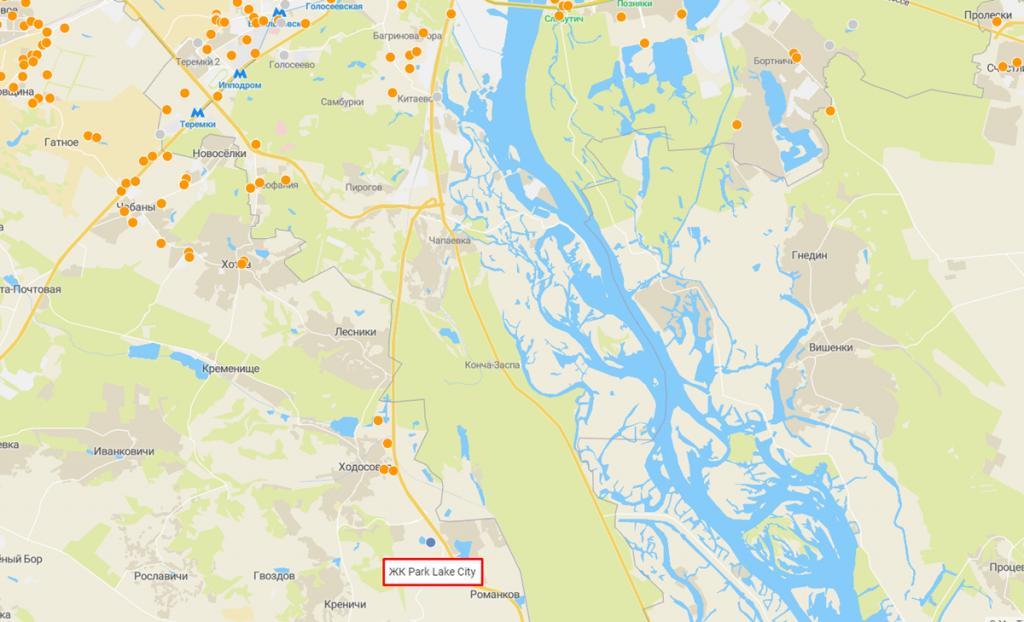 ЖК Парк лейк сити в Подгорцах на карте