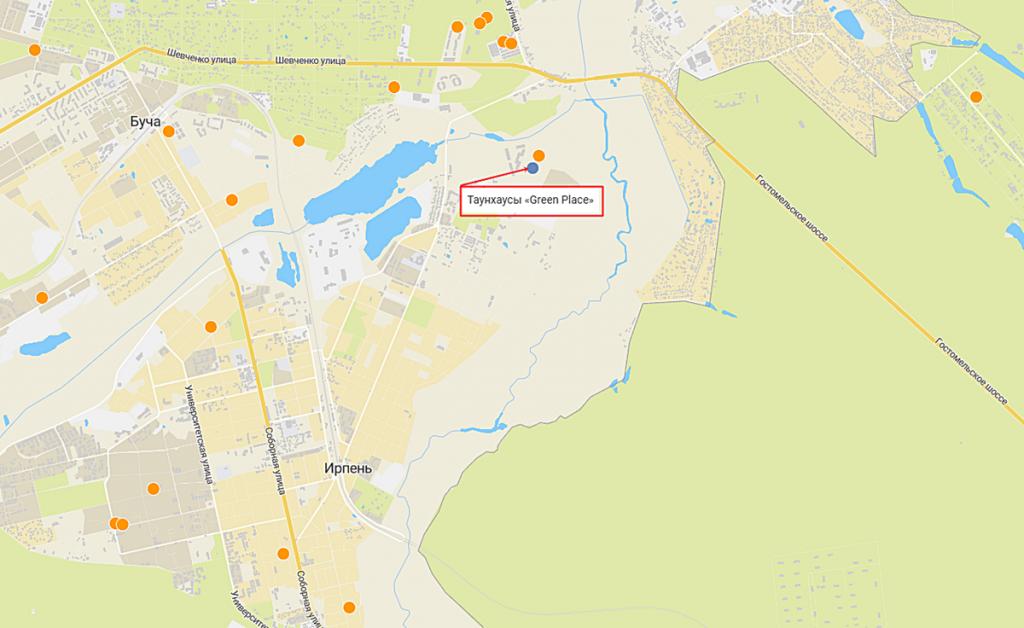 КГ Грин плейс в Ирпене на карте