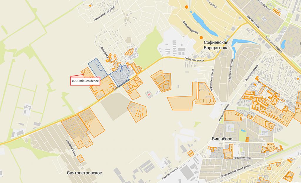 ЖК Парк Резиденс Софиевская Борщаговка на карте