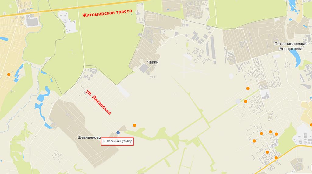 Коттеджный городок Зеленый бульвар в Бедогородке на карте