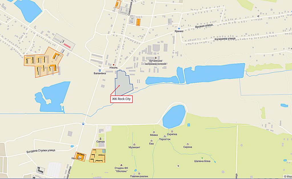 ЖК Рок Сити в Гостомеле на карте