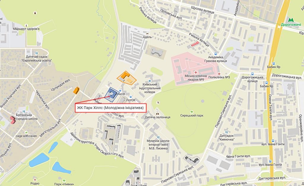 ЖК Молодежная инициатива ЖК Park Hills на карте