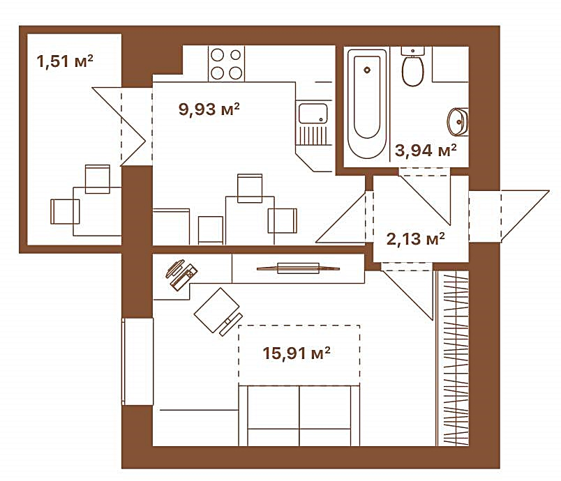 ЖК Парк Резиденс Софиевская Борщаговка планировка однокомнатной квартиры