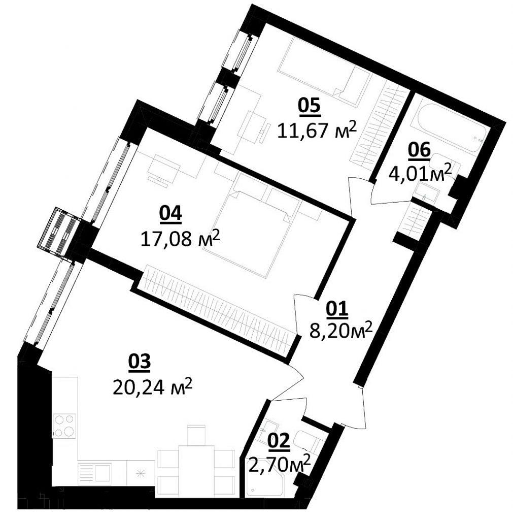 ЖК Белый Шоколад Центр планировка двухкомнатной квартиры