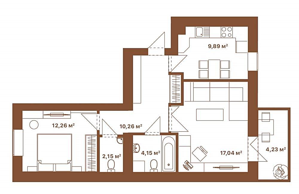 ЖК Парк Резиденс Софиевская Борщаговка планировка двухкомнатной квартиры