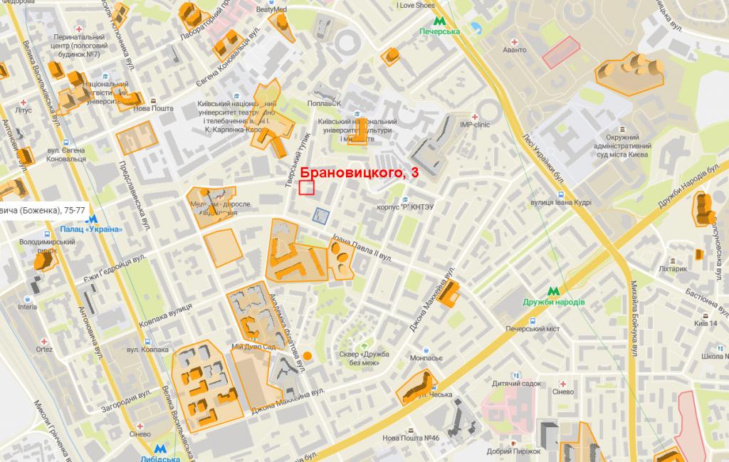 Новостройка на Брановицкого 3 на карте