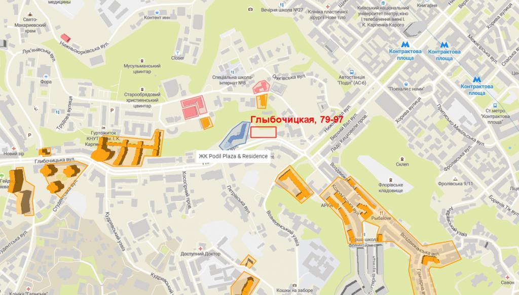 Новостройка на Глыбочицкой 79-97 на карте