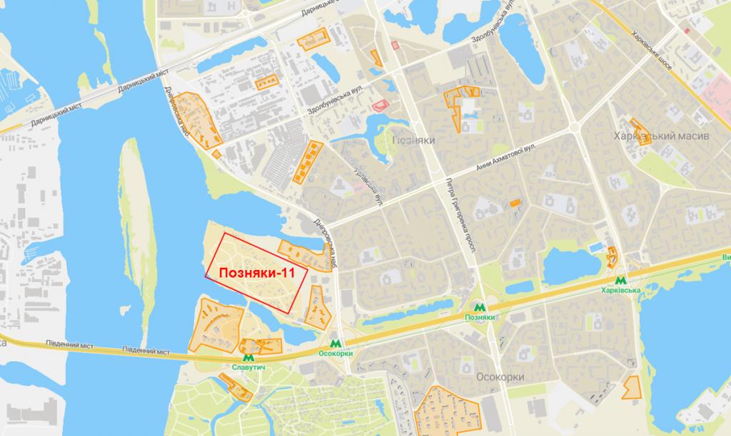 Новостройка на Позняках 11 на карте