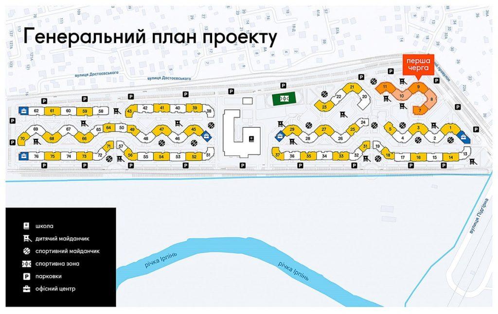 ЖК Синергия Сити в Ирпене генеральный план