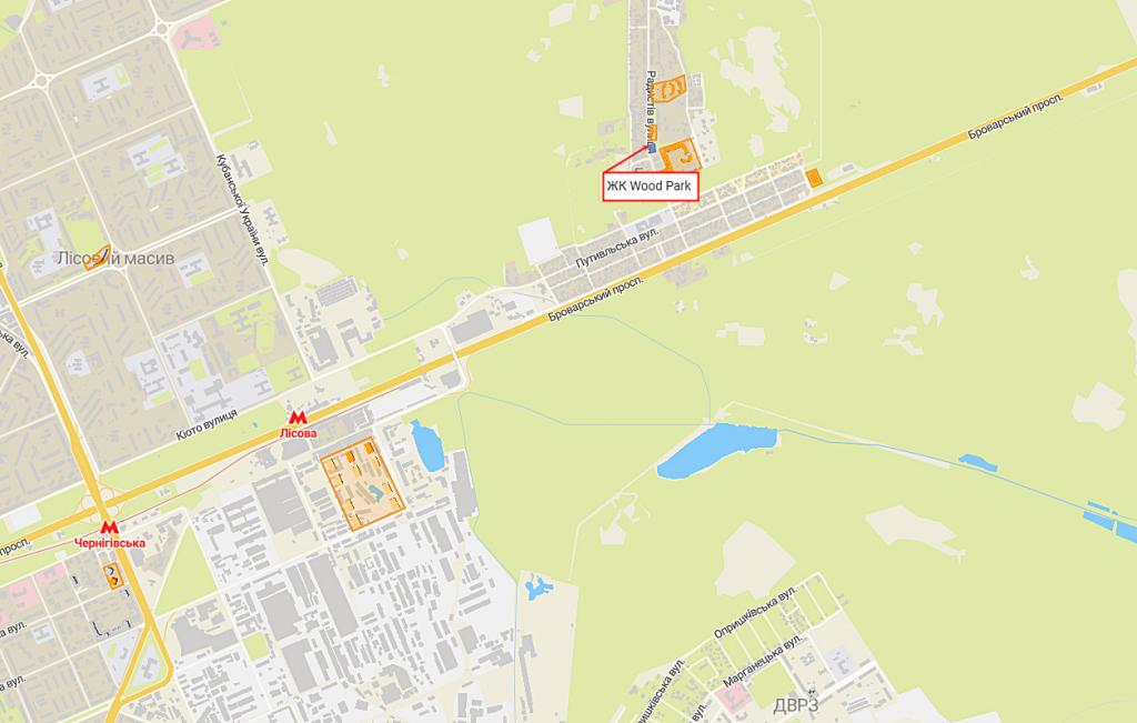 ЖК Вуд Парк в Быковне на карте