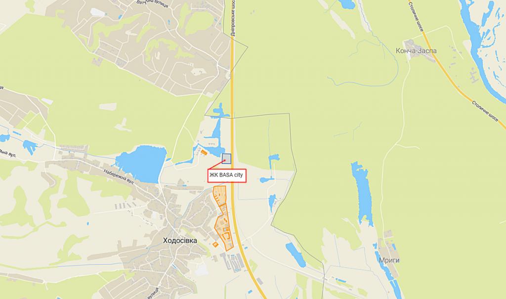 ЖК Баса Сити в Ходосовке на карте