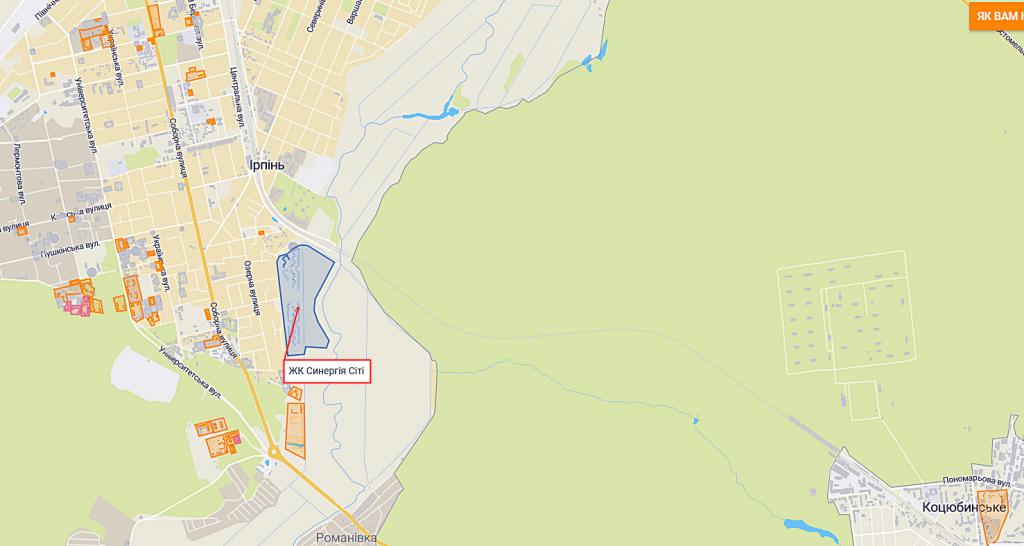 ЖК Синергия Сити в Ирпене на карте