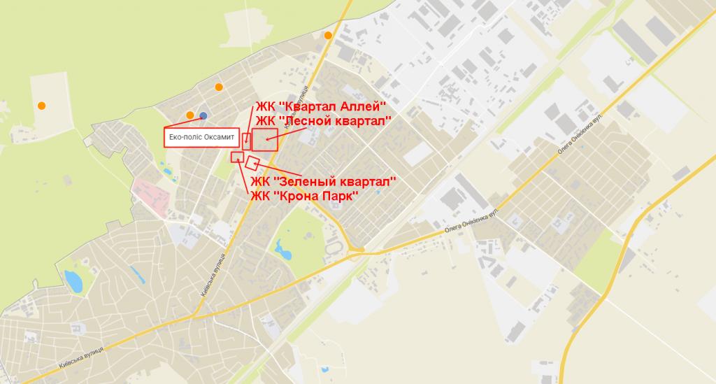 КГ Эко полис Оксамыт в Броварах на карте