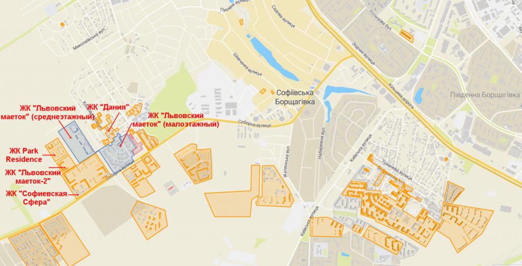 ЖК Львівський маєток 2 в Софиевской Борщаговке на карте