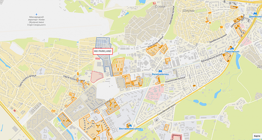 ЖК Паркленд на карте
