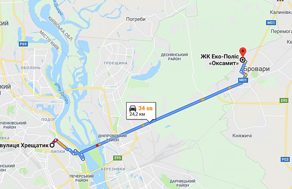КГ Эко полис Оксамыт в Броварах расстояние к центру