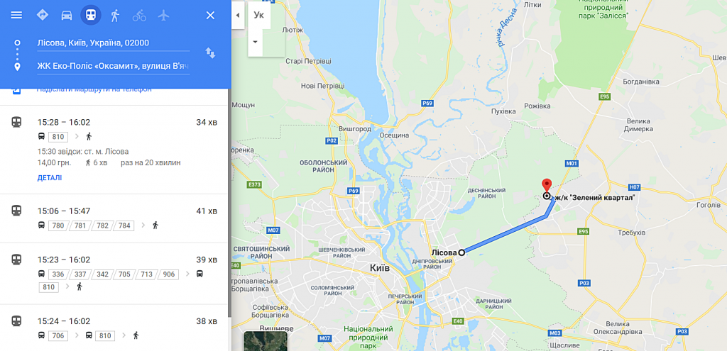 КГ Эко полис Оксамыт в Броварах расстояние к метро