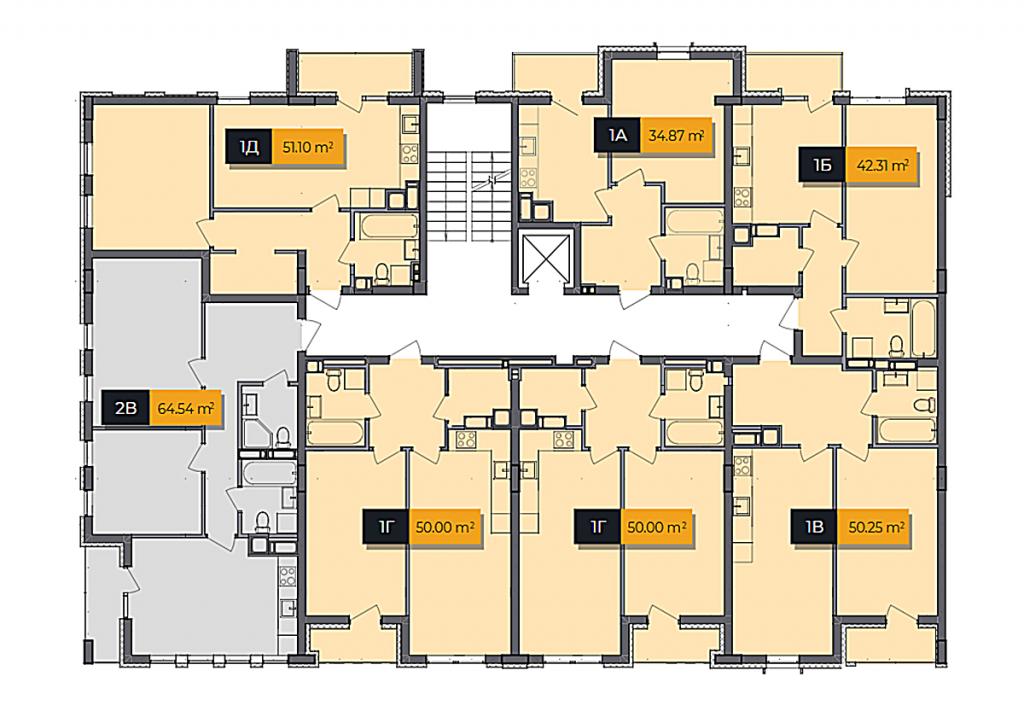 ЖК Баса Сити в Ходосовке план этажа первого дома первой секции