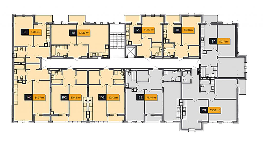 ЖК Баса Сити в Ходосовке план этажа первого дома второй секции