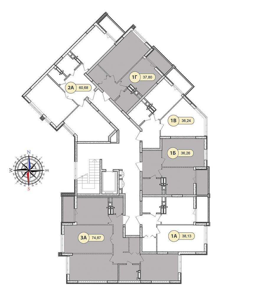 ЖК Синергия Сити в Ирпене план этажа 7 дома