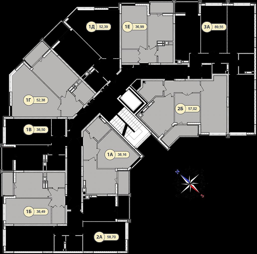 ЖК Синергия Сити в Ирпене поэтажный план 8 дома