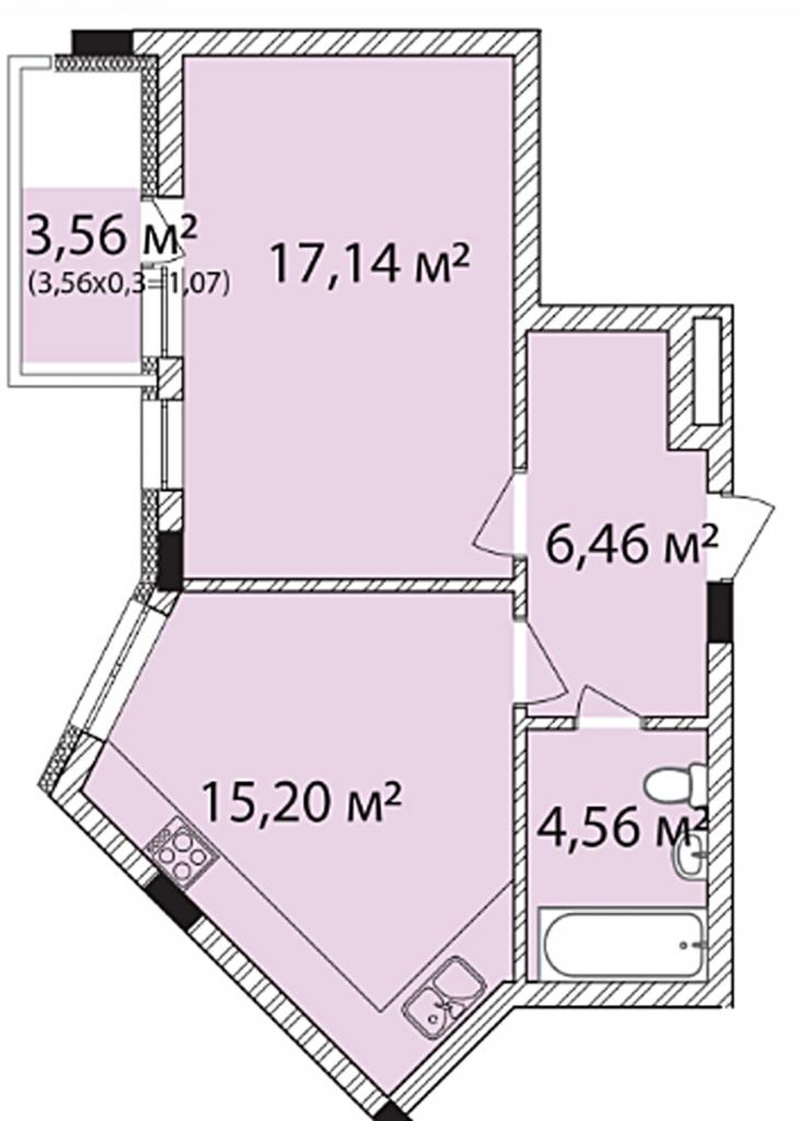 ЖК Лавандовый в Броварах планировка однокомнатной квартиры