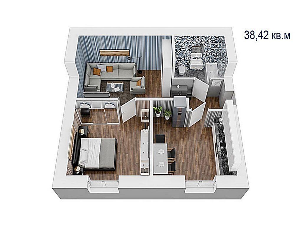 ЖК Вуд Парк в Быковне планировка двухкомнатной квартиры