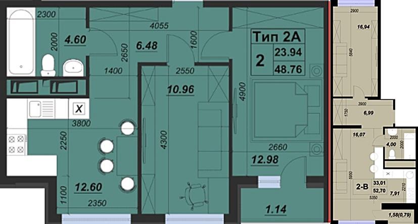 ЖК Паркленд планировка двухкомнатных квартир