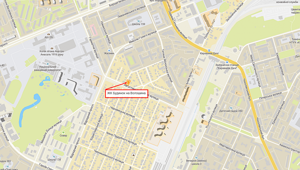ЖК Киева дом на Волошина с индивидуальным отоплением квартир на карте