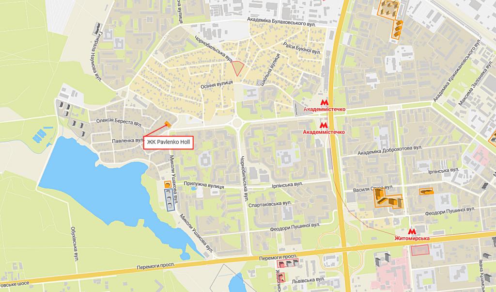 ЖК Киева Павленко Холл с индивидуальным отоплением квартир на карте