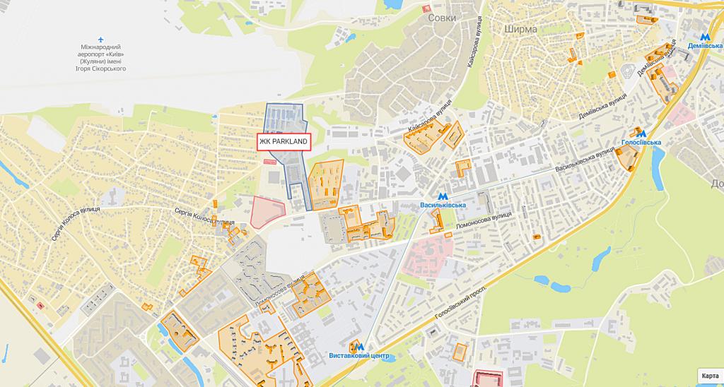 ЖК Киева Паркленд с индивидуальным отоплением квартир на карте
