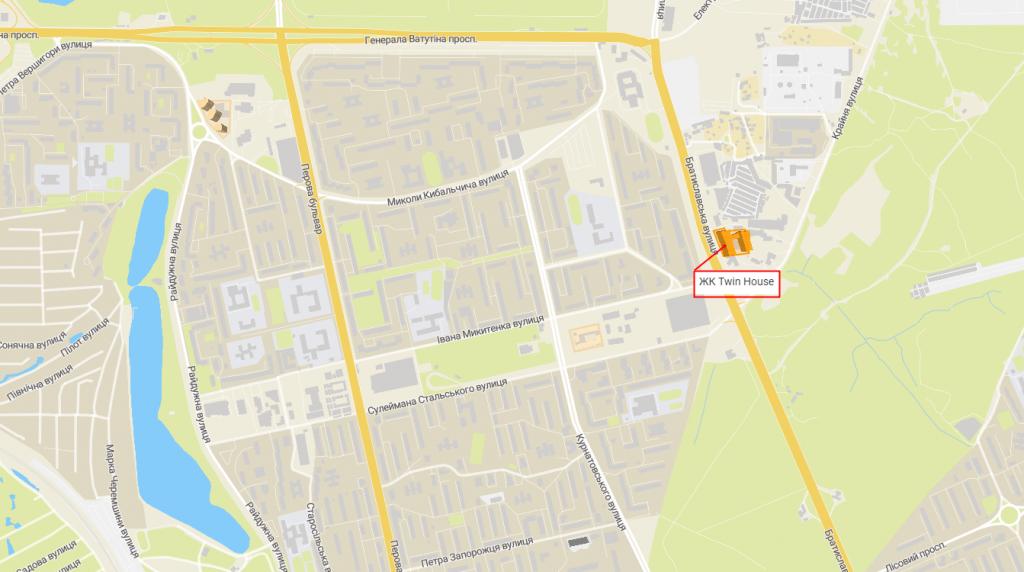 ЖК Киева Твин Хаус с индивидуальным отоплением квартир на карте
