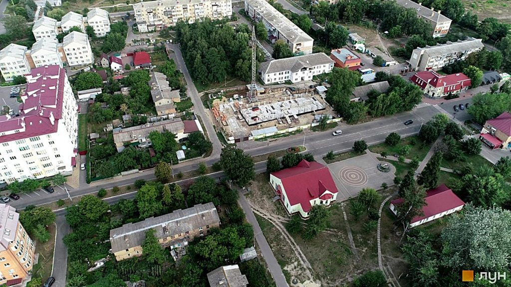 ЖК Триумф Софиевский в Счастливом ход строительства аэросьемка