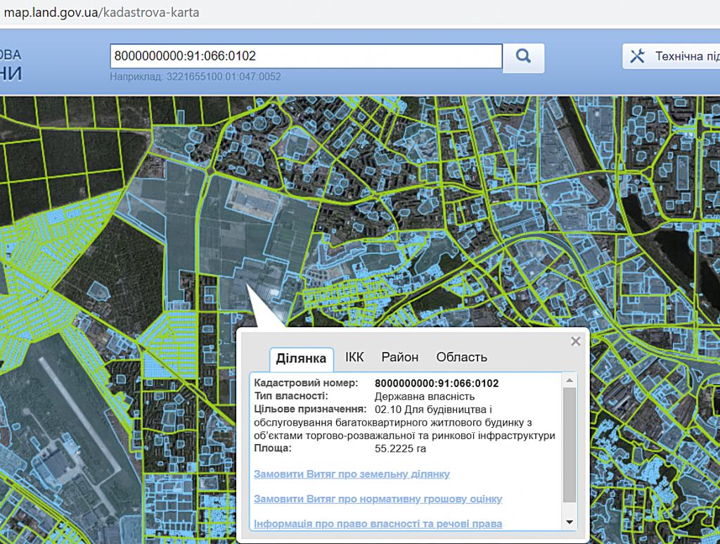 ЖК Діброва парк данные кадастровой карты