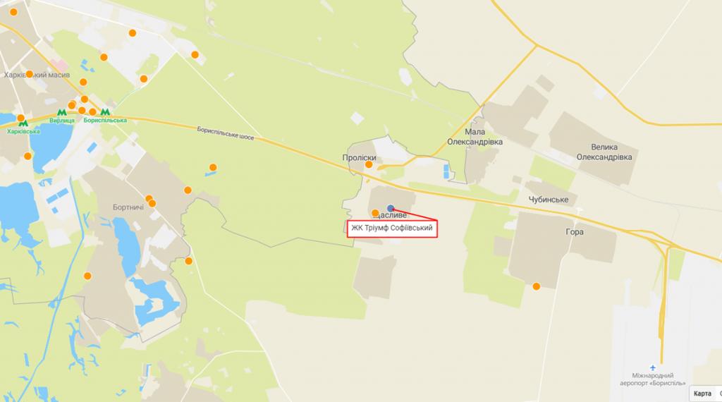 ЖК Триумф Софиевский в Счастливом на карте