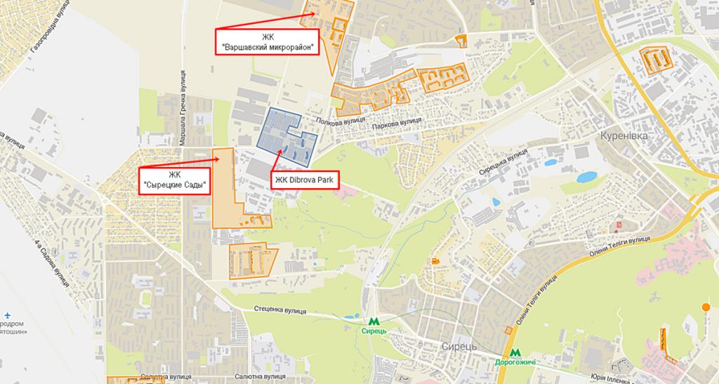 ЖК Діброва парк на карте