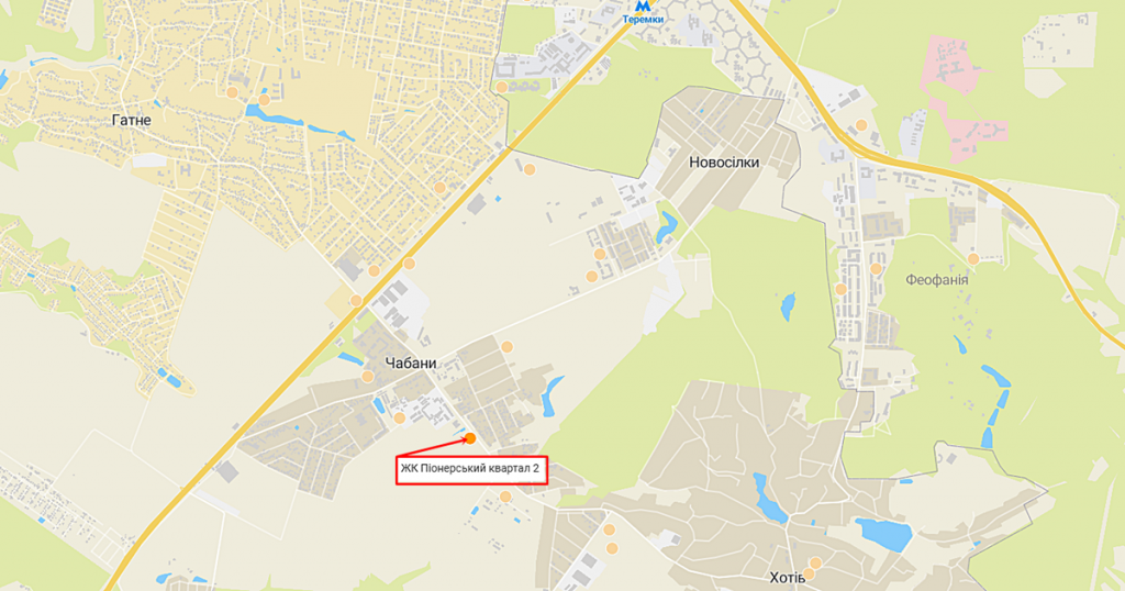 ЖК Чабаны град ЖК Пионерский квартал 2 в Чабанах на карте