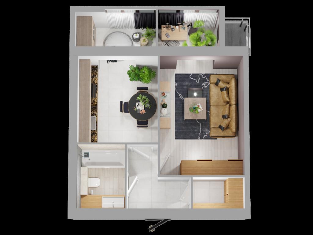 ЖК Триумф Софиевский в Счастливом планировка однокомнатной квартиры