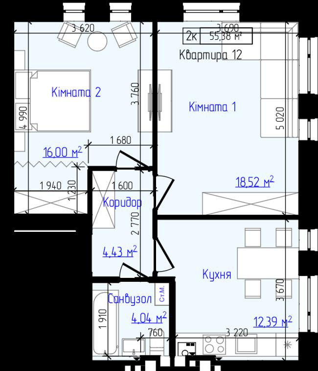 ЖК Викинг Хоум в Ирпене планировка двухкомнатной квартиры