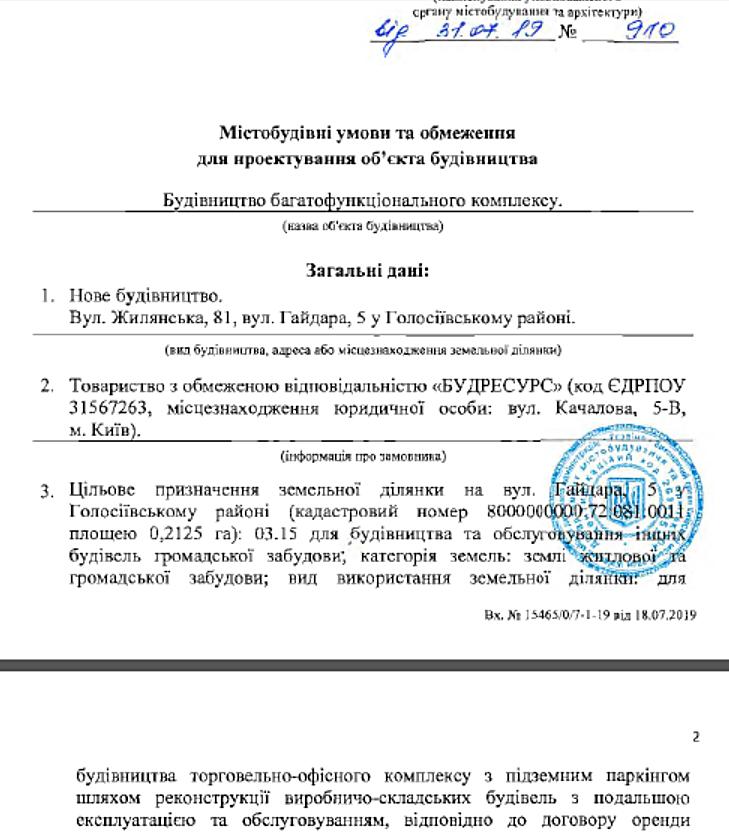 Будущая новостройка на ул Жилянская 81 и Гайдара 5 выданные государственные условия и ограничения