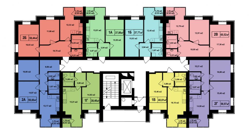 ЖК Покровский в Гостомеле планировка этажа пятого дома